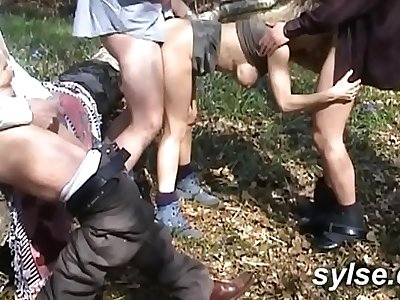 Bukkake for 2 MILFs and dogging gangbang in forest with voyeurs